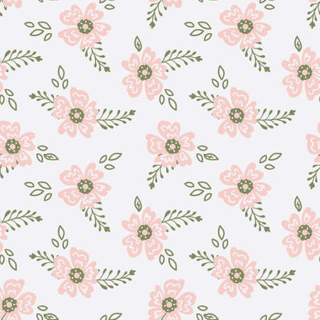 seamless hand-drawn pattern with delicate pink flowers and leaves on white 일러스트