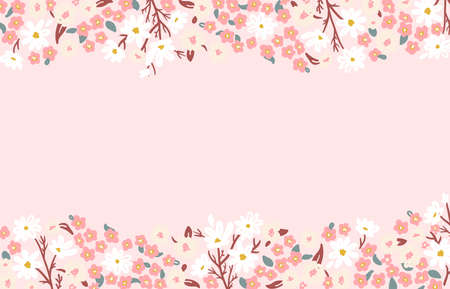 delicate pink floral border with wild flowers