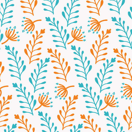 bright seamless pattern with hand-drawn twigs on white Illusztráció