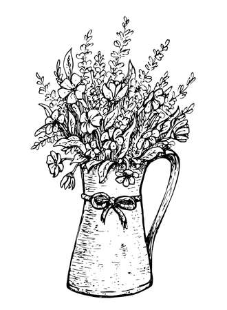 Hand drawn vintage bouquet of spring flowers with lavender in an old jug