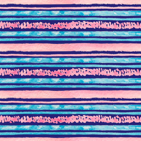seamless watercolor striped pattern with horizontal blue and pink strips on a dark background