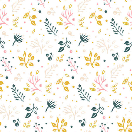 bright seamless pattern with hand-drawn twigs, leaves and berries on white