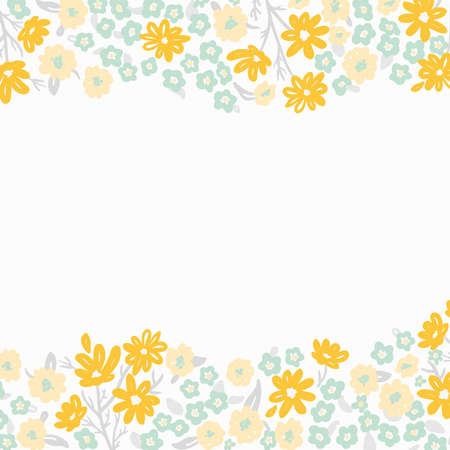 light spring floral border with tiny yellow flowers, square format 일러스트