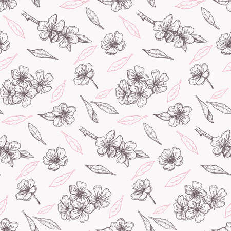 spring seamless pattern with vintage blooming cherry on a light background 일러스트