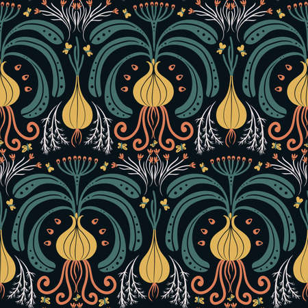 seamless vegetable pattern with bulbs, Damascus style on dark background Illusztráció
