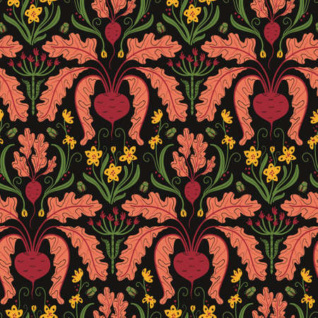 seamless vegetable pattern with beets, Damascus style on dark background