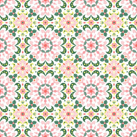 bright rainbow seamless pattern with stylized flowers 일러스트