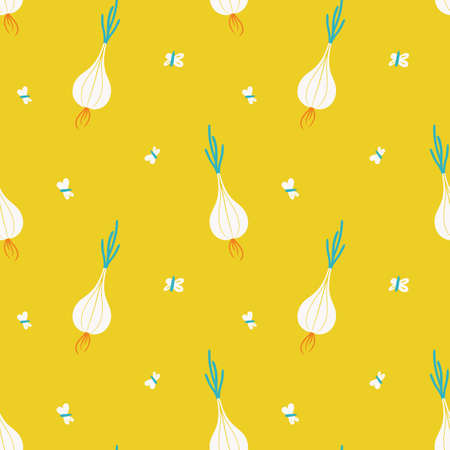 cute seamless vegetable pattern with light bulbs and moths on bright yellow background
