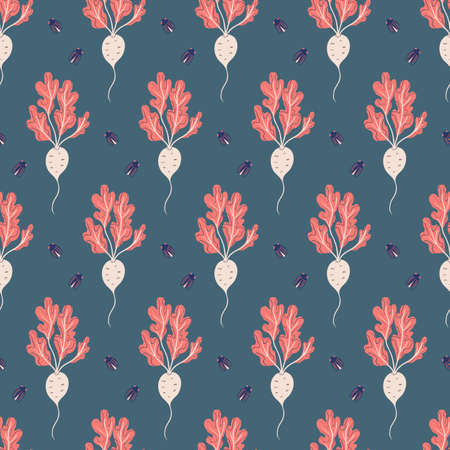 seamless vegetable pattern with beetroot and small bugs on dark gray background