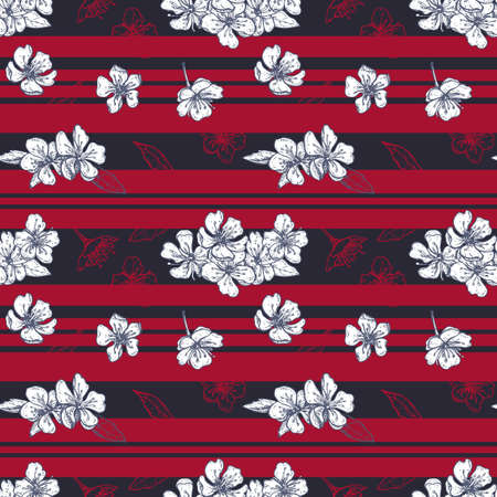 striped seamless pattern with blooming cherry flowers and leaves Illusztráció