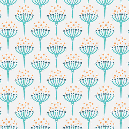 simple delicate seamless pattern with cute herb with umbrella inflorescences
