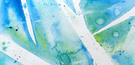 watercolor bright blue green background with white stripes and spots