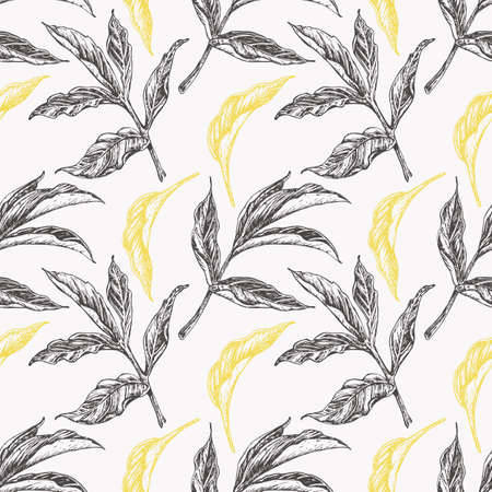 Seamless floral pattern with peony leaves. Trendy colors illuminating yellow and utimate gray on white background