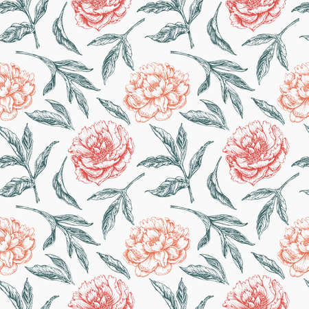 elegant seamless floral pattern with peony flowers and leaves Illusztráció
