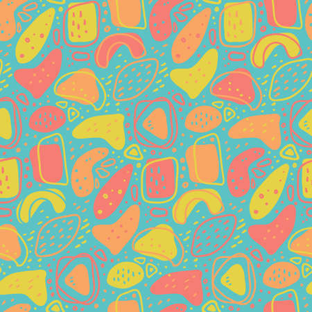 Abstract modern seamless pattern with bright color simple shapes