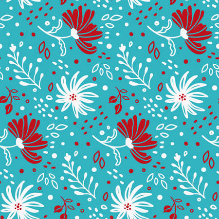 bright seamless pattern with hand drawn red white flowers