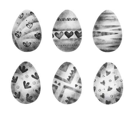 Set of black and white easter eggs decorated with pattern in hand printing technique isolated on white background Stock fotó