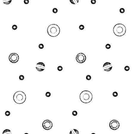abstract seamless pattern with imprint different small circles in hand printing technique