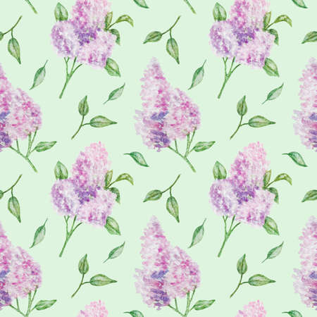 spring bright seamless patern with watercolor flowers lilac on light green background