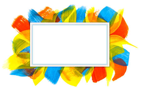 rectangular banner with bright multicolored brush strokes Stock fotó