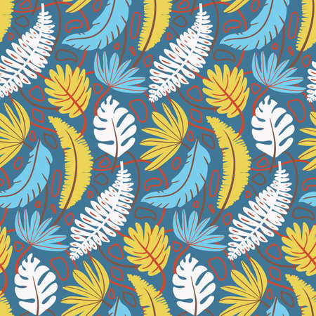 light seamless pattern with tropical leaves