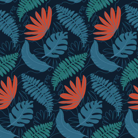 seamless pattern with various tropical leaves on dark blue background