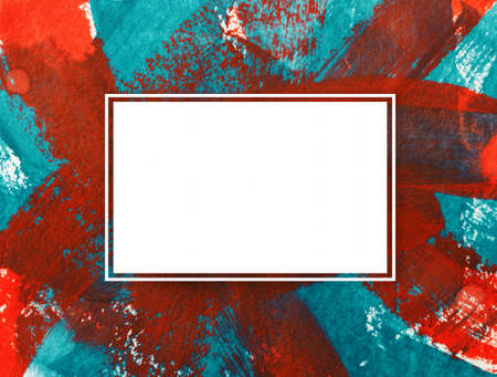 rectangular color texture frame with red green brush strokes