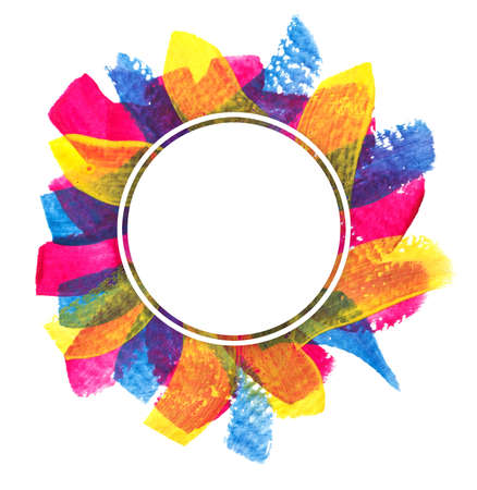 round frame with bright multicolored brush strokes Stock fotó