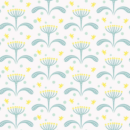 delicate seamless pattern of light yellow flowers with umbrella inflorescences and moths on white background