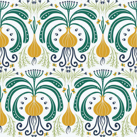 seamless pattern with yellow bulbs, vegetable Damascus