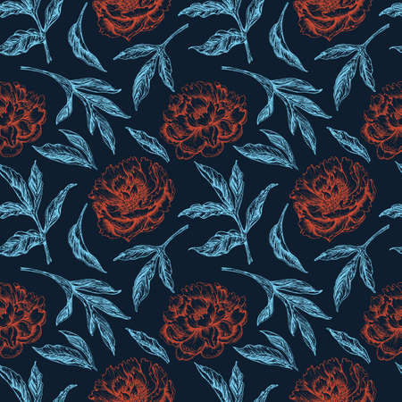 seamless pattern with red flowers and blue leaves peony in vintage style on dark background Illusztráció