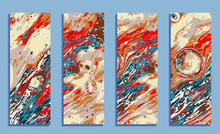 set of colorful cards, mix of bright paints, modern marble backgrounds for design Illusztráció