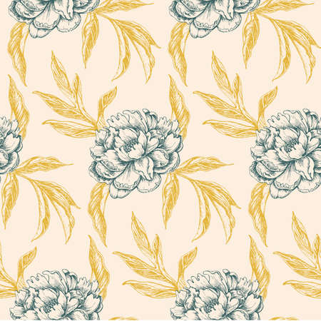 vintage seamless floral pattern with peony flowers and golden leaves on light yellow