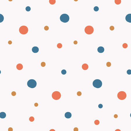 simple seamless pattern with bright multicolored random polka dot