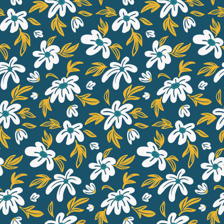 spring seamless floral pattern with white hand drawn flowers on green background Illusztráció