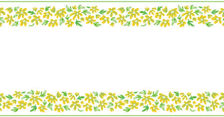 bright spring floral seamless border with simple hand drawn flowers on white background