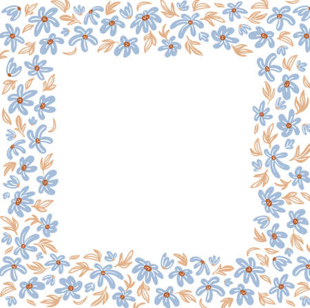 multicolor floral square frame with small meadow flowers on white background Illusztráció