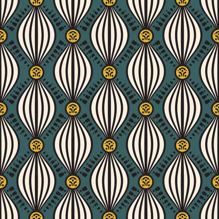 geometric abstract seamless pattern with wavy striped shapes on green background