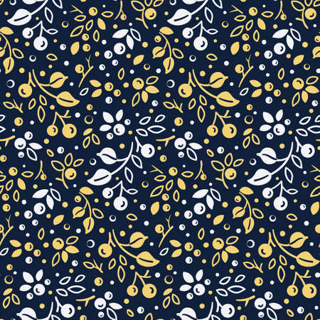 bright seamless pattern with thin twigs, leaves and berries on dark blue
