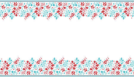 bright seamless border with twigs and berries on white background