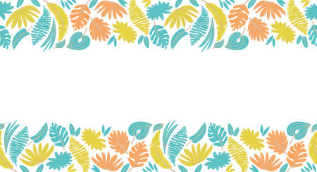 bright seamless border with various tropical leaves for banner, header