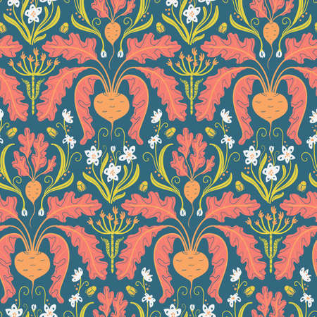 rainbow seamless pattern with beets, vegetable Damascus