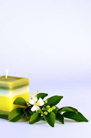 orange jasmine and handmade candle Stock Photo - 10200296