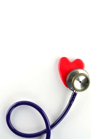 heart doctor: stethoscope and red heart on white background