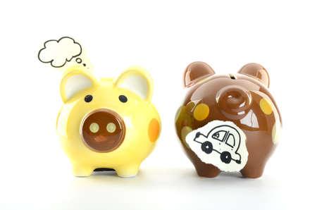 piggy banks isolated on white background photo