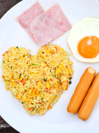fired egg: fried rice with fired egg Stock Photo