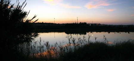 lagos: Relajante dorada puesta de sol sobre un lago en el parque de la ciudad
