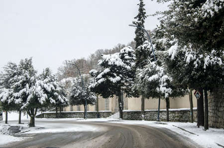 a small mountain town with trees and snow-covered road warmtone photo
