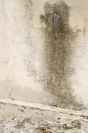 dark damp stain on old wall with cracks to be restored photo