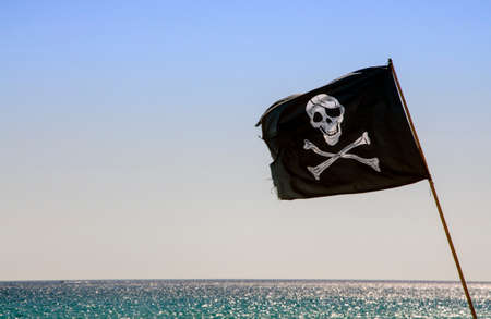 pirate crew: pirate flag waving with blue sea background